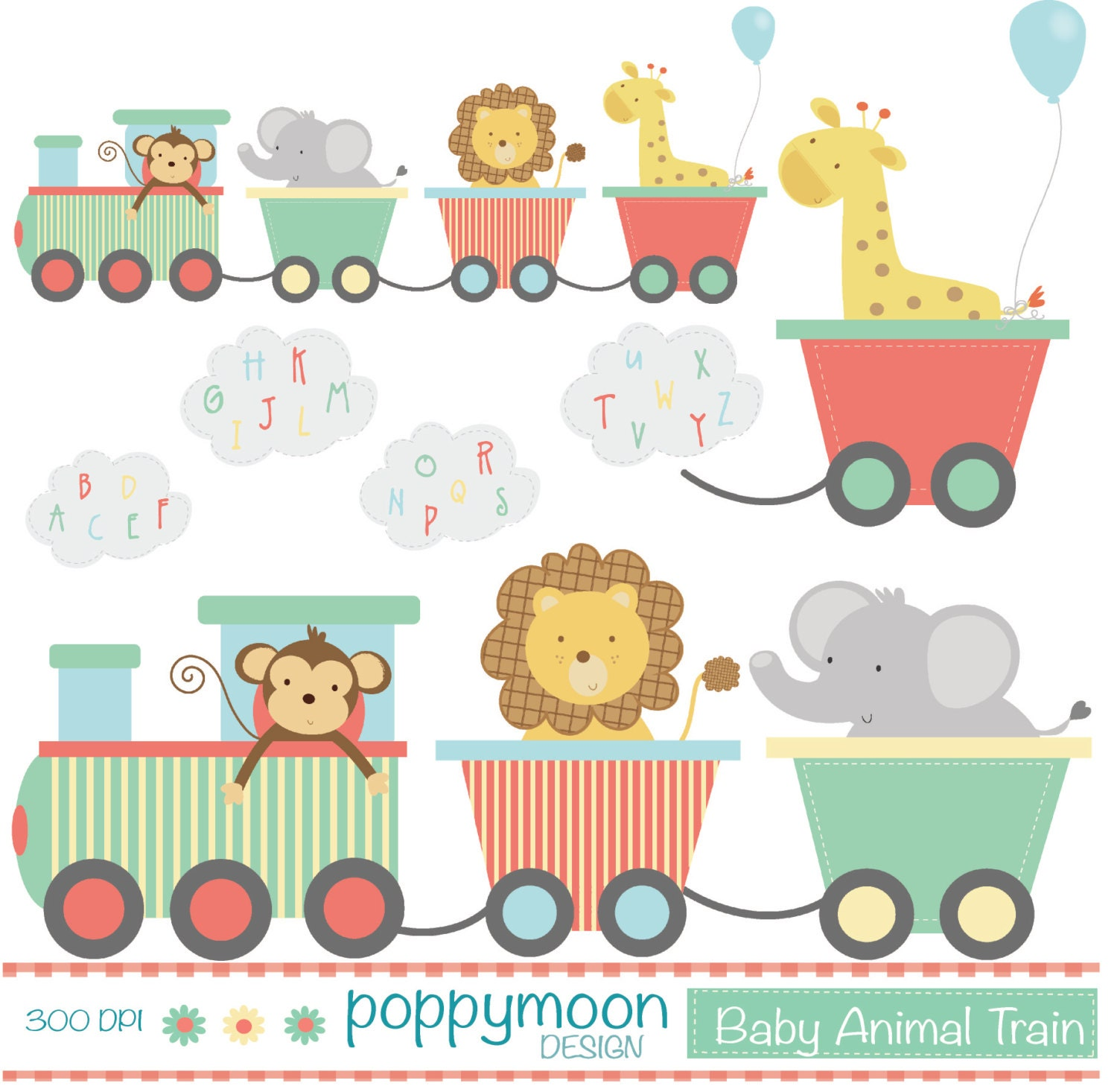 baby animal train with alphabet smoke printable digital With train letters baby