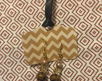 Handmade Dangle Bronze/Pearl Earrings
