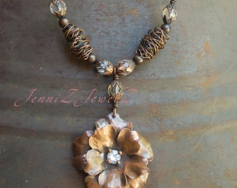 Rich Copper Flower, Handcrafted wire beads and Faceted Quartz Crystal Necklace