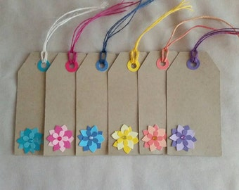 6 Floral Embellished Gift Tags, good for Every Occasion, Birthdays, Just Because , Thank you