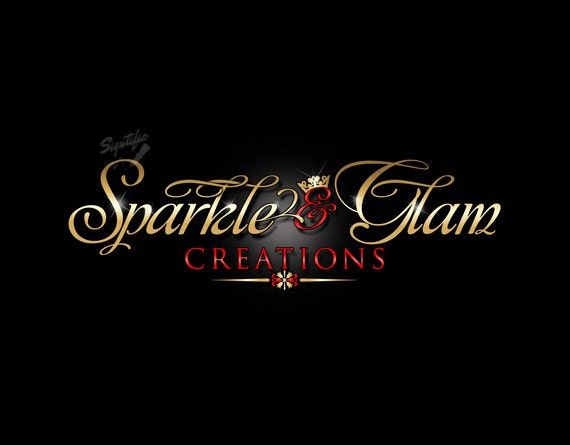 Elegant Logo with Crown, Logo with Blings, Cursive Lettering Logo Design, Gold Lettering Logo, Sparkly Crown Logo, Logo in Gold and Red