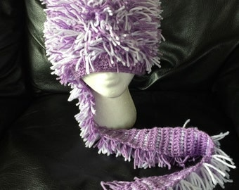 Cat hat crazy cat hat Ski hat winter hat crazy hat fringe hat with cat purple and white striped with tail scarf free shipping