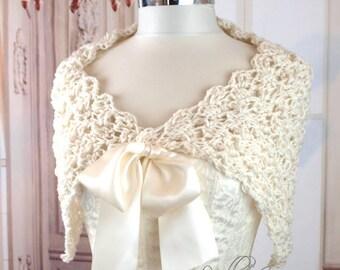 Ivory Bridal Shawl Spring Stole Fall Shoulder Cover Crochet Shrug Ivory Wedding Dress Cover Caplet Bridesmaids Bolero