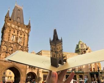 Pop up card, 3d card Prague Gunpowder Tower, Architecture Prague paper cut, Czech paper Scale model, Prague Architecture models miniature