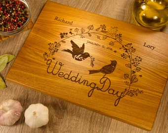 Custom Wedding Cutting Board, Custom Wedding Gift for Couple, Personalized Wedding Board, Custom Wood Engraved with Initials, Birds