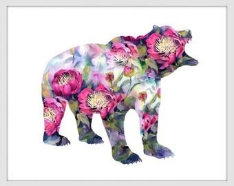 Bear Art Print, Bear Decor, Bear Watercolor Art, Bear, Bear Wall Decor 143