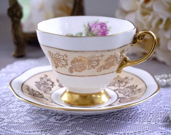 EB Foley Teacup and Saucer, Pink Roses Floral Tea Cup Set, English Bone China, Made in England, Pink Flower Teacup, Fancy Gold Trim, 1940s+