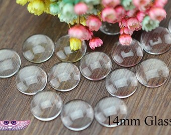 Magnify Glass 14mm - Glass Cabochons 14mm - Round Transparent Glass Covers 14mm - Magnify Domed Glass - Domed Glass Cabs - DIY Craft Supply