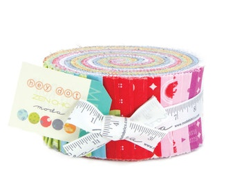 Zen Chic Hey Dot Jelly Roll 42 x 2.5 inch Strip Roll Quilting Cotton Fabric by Moda Fabrics, UK Seller