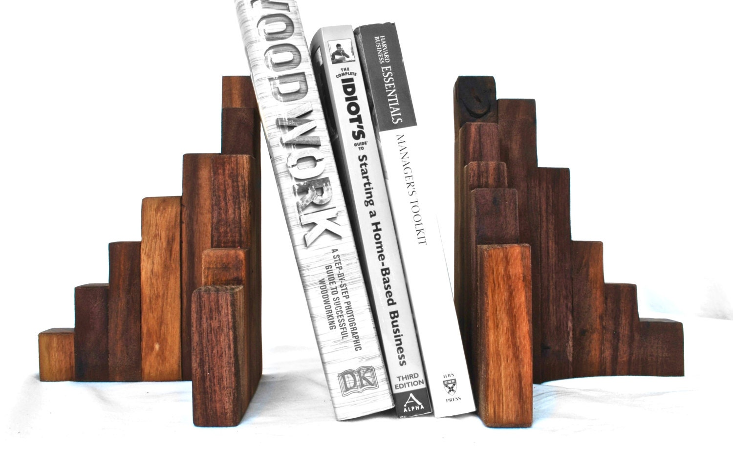 Rustic Wood Bookends Walnut Set of 2 Wood Art Wooden