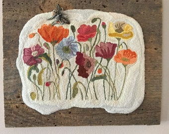 Finished Needle Punch Field of Poppies