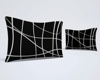 Black White Sham, Abstract Bed Pillow, Modern Pillow Sham, Scribble Lines Sham, Black Pillowcase, King Size Sham, Standard Size Sham