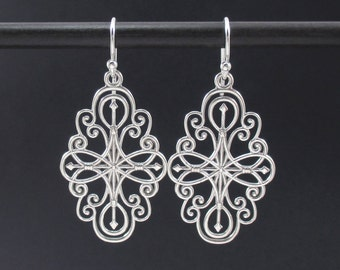 Compass Earrings Sterling Silver Filigree Earrings, Silver Long Earrings, Compass Rose Earrings, Silver Dangle Earrings