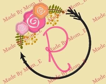 Floral Arrow Circle Monogram Frame