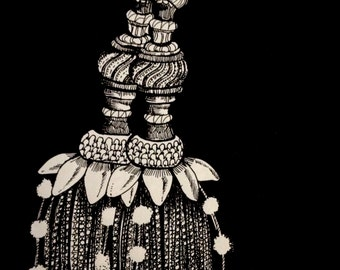 Black and White Illustrated Wall Art - The Two Tassels