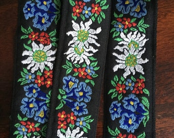 """Vintage French Floral Embroidered Ribbon, Black with White, Red, Green and Blue embroidery, 1 5/8"""" wide"""