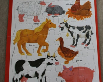 Puzzle Patch Picture Puzzle, Frame Tray Puzzle, All Pieces Included, Farm Animals, Children Pretend Play, Learning Puzzle, Ages 3 & Up NICE