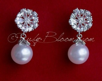 Art Deco Earrings, CZ Silver Pearl Bridal Earrings, Cubic Zirconia Earrings, Wedding Accessory, Gift Bridesmaid Earring, by Ruby Blooms
