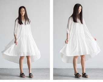 Black/White long cotton dress  BonLife