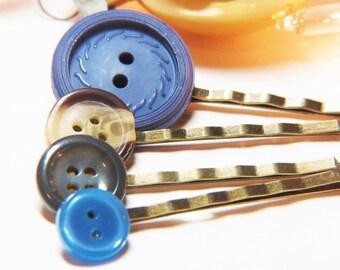 Button Bobby Pins  - Button Hair Pins - Blue Bobby Pins - Blue Hair Pins - Blue Button Bobby Pins - Blue Button Hair Pins