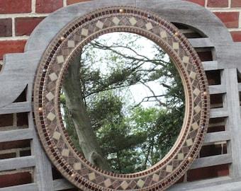 Brown Mosaic Round Mirror
