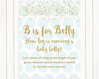 Blue and Gold How Big is Mommy's Belly, B is for Belly Game Printable, B is for Belly Bump Blue Gold Henry Baby Shower Digital Printable