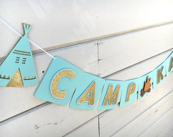 Glamping Theme Banner | Mint Green and Gold Party | Birthday Banner | Camp Theme | First Birthday | Bohemian Theme Party | Camp Banner