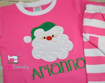 Christmas pajamas santa girl kid child baby toddler infant applique embroidery monogram custom name santa xmas pjs