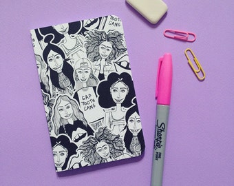 Girl Gang Illustrated Sketchbook   Printed Notebook   Stationery Ideas   A6   Back To School
