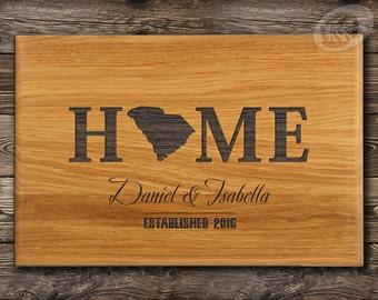 South Carolina, Cutting Board, Housewarming Gift, Custom Cutting Board, Engraved Family Name, Cutting Board, Anniversary gift, Home