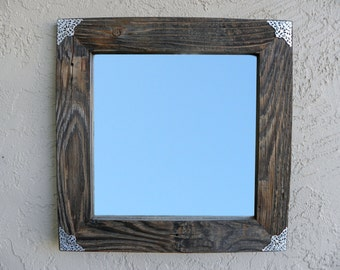 Reclaimed Wood Mirror with Silver Filigree Corners. Rustic Mirror. Eco Friendly. Wooden Frame Mirror. Modern Mirror. Bathroom Mirror. 20x20