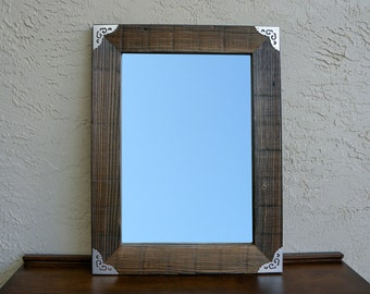 Reclaimed Wood Mirror with Metal Silver Corners. Rustic Decor. Eco Friendly. Large Mirror. Framed Mirror. Modern Mirror. Rustic Mirror. L