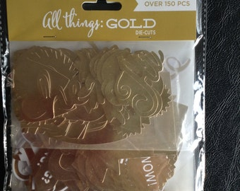 All Things GOLD Die Cuts, Over 150 Pieces, Various Die Cuts, Craft Supplies, Embellishments, Scrapbooking, Card Making, My Mind's Eye
