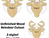Unfinished Wood Rudolph Reindeer Laser Cutout 3 STYLES!, Wreath Accent, Door Hanger, Ready to Paint & Personalize, Various Sizes and Shapes