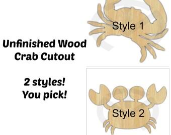 Unfinished Wood Crab Laser Cutout, Home Decor, Door Hanger, Nautical, Ocean, Beach Decor