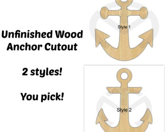 Unfinished Wood Anchor Laser Cutout, Wreath Accent, Door Hanger, Ready to Paint & Personalize, Various Sizes and Shapes
