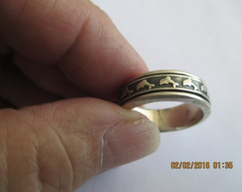 Dolphin Spin Ring...Sterling Silver..Solid...New...Taxco