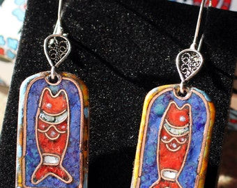 Alexandr Emelyanov - Hot Enamelled Earrings with Ancient Christian Simbolic of the Fish  (IXIUS)