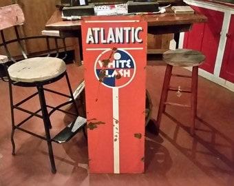 Rare 1930s Vintage Atlantic White Flash 41 x 15 Vertical Orange Gas Station Sign