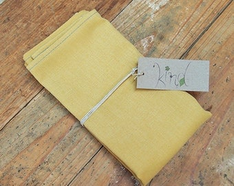 Plain cotton napkins - yellow (set of 2)
