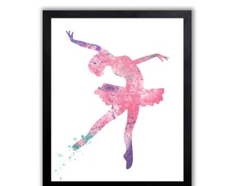Pink and Purple Nursery Art, Girls Ballet Art Print - FIG003