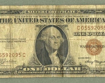 1935A Hawaii WWII Emergency Issue Silver Certificate 1 Dollar Brown Seal