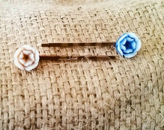 Brown & Blue Bobby Pin Set