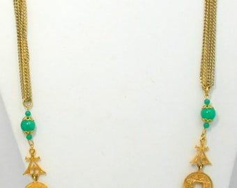 Juliana D & E (DeLizza and Elster) Book Piece Oriental Charms Necklace / Verified