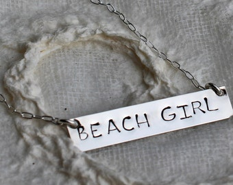 Bar Necklace Sterling Silver Bar BEACH GIRL Necklace Beach Necklace Hand-Stamped