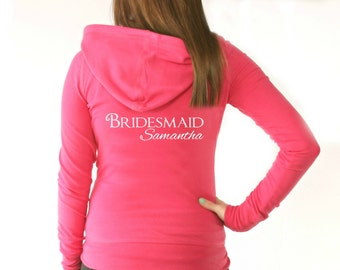 Personalized Bridal Party Hoodie. Custom Bridesmaid Hoodie. Wedding Hoodie. Bridesmaid Hoodie. Maid of Honor Hoodie.