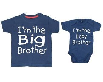 Matching I'm the Big Brother Navy tshirt and I'm the baby brother Navy bodysuit set