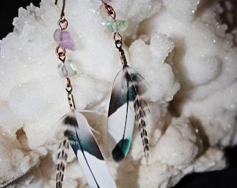 Cruelty free parakeet//rainbow fluorite earrings