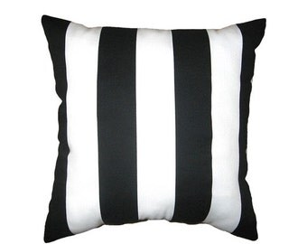 Black and White Outdoor Pillow Cover - Deck Stripe Black Pillow Cover - Black and White Stripe Outdoor Pillow - Black Outdoor Pillow Case