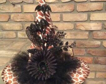 Halloween Animal Print Witch Hat